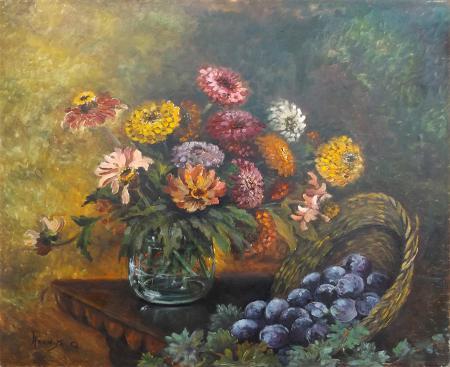Quadro di Narcisa Q. Vaso di fiori con frutta - olio tela