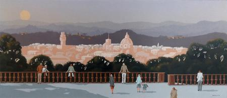 Quadro di Enrico Faustini Firenze dal Piazzale - olio tavola