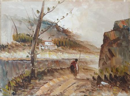Art work by firma Illeggibile Verso la strada del ritorno - oil canvas