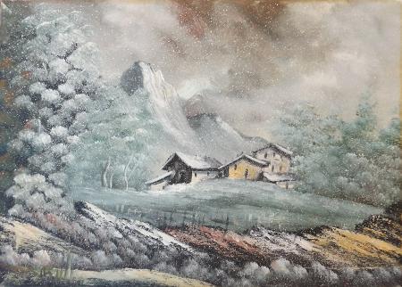 Art work by firma Illeggibile Casa in montagna - oil canvas