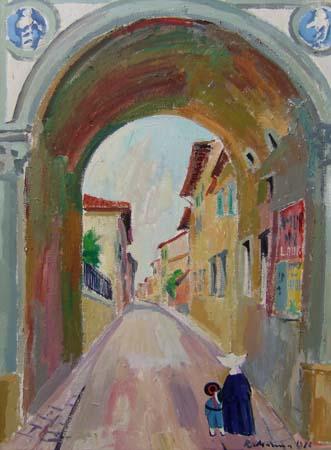 Quadro di Rodolfo Marma Via della Colonna - olio tela