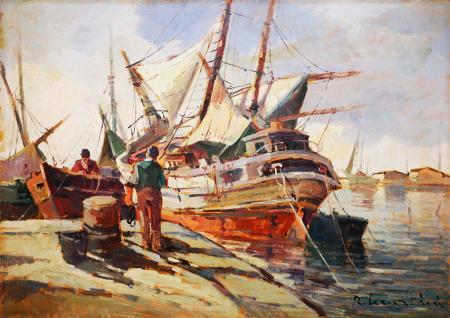 Art work by Renzo Martini Barche al porto - oil hardboard
