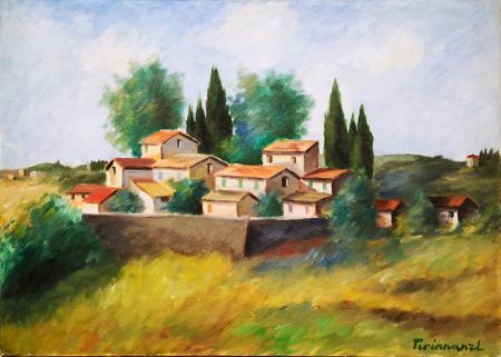 Quadro di Nino Tirinnanzi Paesaggio toscano - olio tela