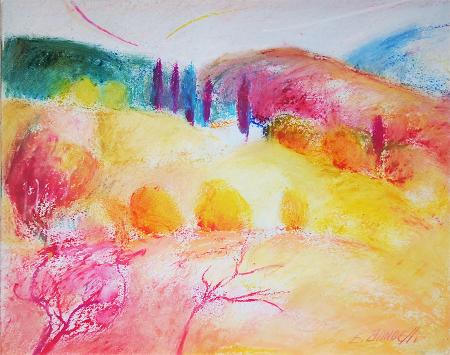 Quadro di Enrico Bandelli Paesaggio toscano - pastello carta