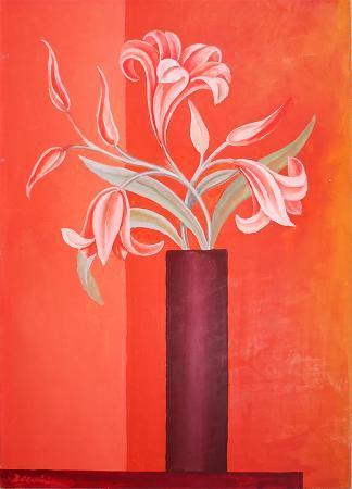Quadro di firma Illeggibile Vaso di fiori - olio faesite