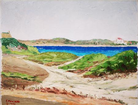 Quadro di Filippo Montalto  Sa Rocca Tunda, Sardegna - olio cartone telato