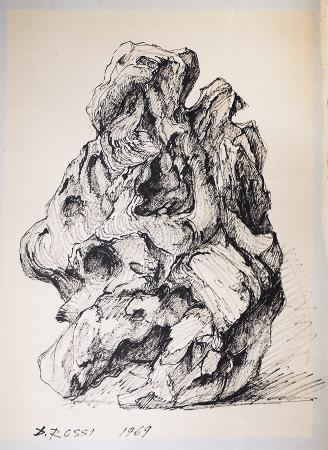 Quadro di D. Rossi Studio di un sasso - pennarello cartone