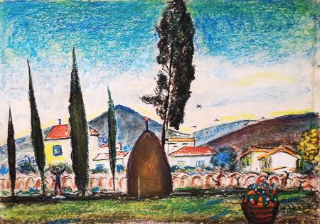 Art work by Antonio  Berti  Case in campagna - pastel paper