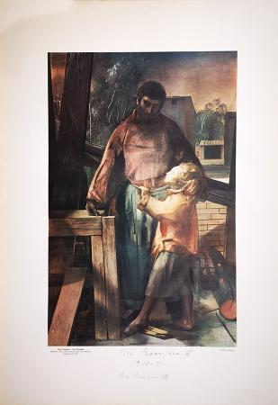 Art work by Pietro Annigoni San Giuseppe - lithography paper