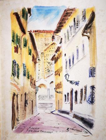 Quadro di Rodolfo Marma Via delle Pinzochere - litografia carta