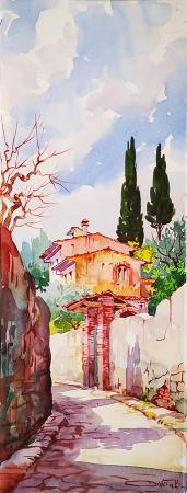Art work by Giovanni Ospitali Via di Firenze - watercolor paper