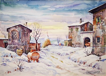 Art work by Giovanni Ospitali Nevicata - watercolor cardboard