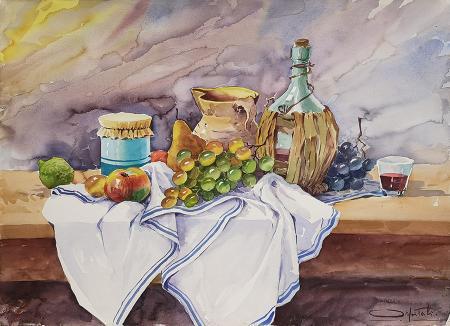 Quadro di Giovanni Ospitali Composizione con frutta - acquerello cartone