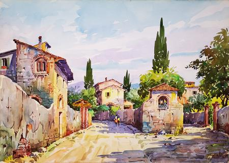 Artwork by Giovanni Ospitali, watercolor on cardboard | Italian Painters FirenzeArt gallery italian painters