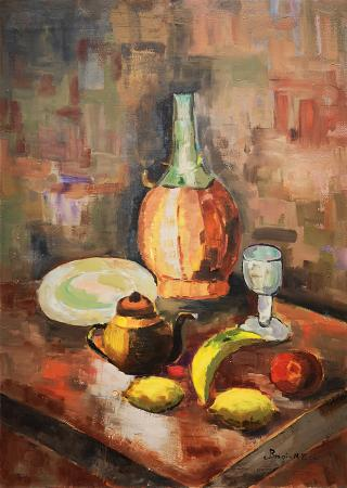 Art work by M. P.  Brogi Composizione con vino e frutta - oil table