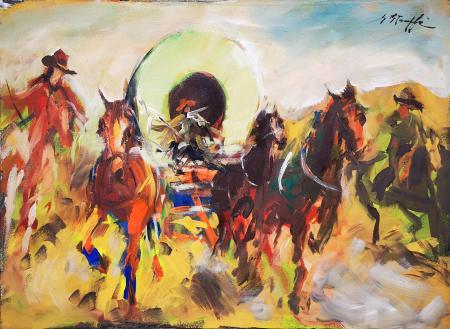 Quadro di firma Illeggibile Cavalli in corsa - olio tela