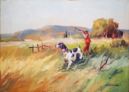 Art work by firma Illeggibile Scena di caccia - oil canvas