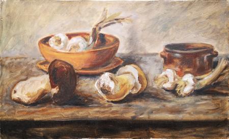 Quadro di  Anonimo Composizione con funghi e aglio  - olio tela