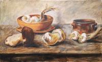 Anonimo - Composizione con funghi e aglio