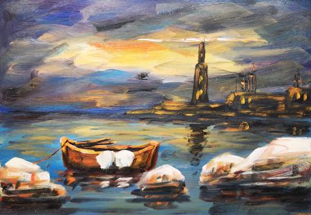 Art work by  Anonimo Marina - oil hardboard