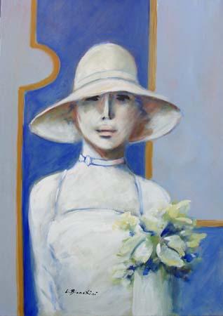 Quadro di Umberto Bianchini Ragazza in bianco - olio tela