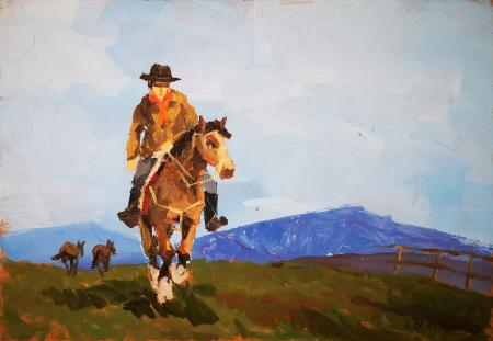 Art work by V. De Robertis Uomo a cavallo - oil hardboard