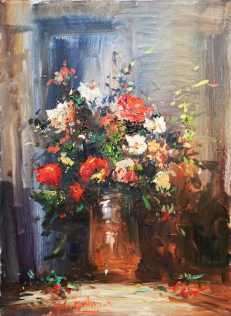 Art work by Norberto Martini Vaso di fiori - oil canvas