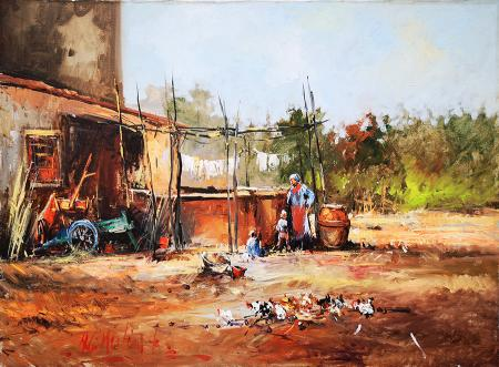 Art work by Norberto Martini in campagna - oil canvas