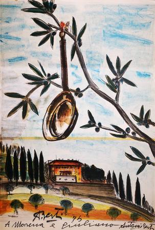 Quadro di Antonio  Berti  Il paiolo - mista carta