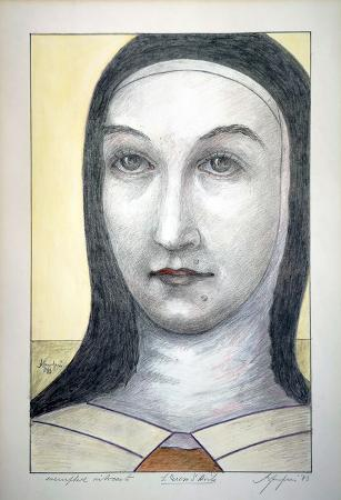 Art work by firma Illeggibile Santa Teresa d'Avila - lithography paper