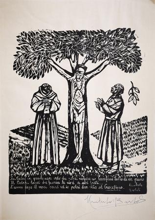 Quadro di Umberto Bartoli  Storia del Crocifisso in un unico pezzo - incisione carta gialla
