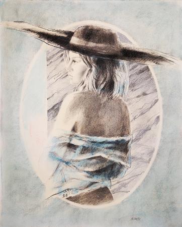 Quadro di Riccardo Saldarelli Figura con cappello  - mista carta