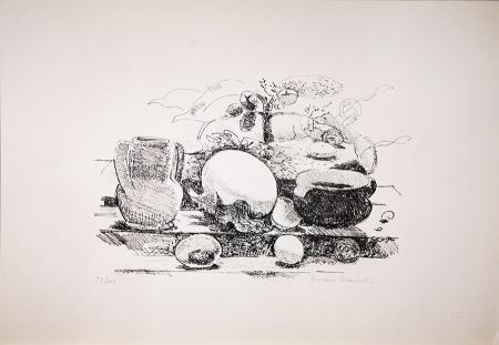 Quadro di Giovanni Colacicchi Composizione - litografia carta