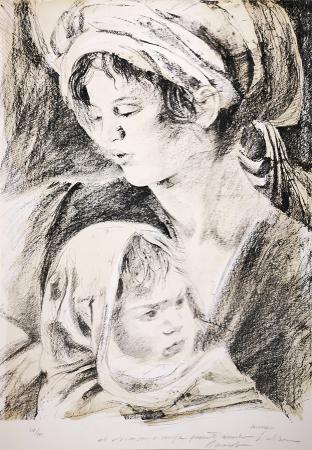 Quadro di Riccardo Saldarelli Maternità - litografia carta