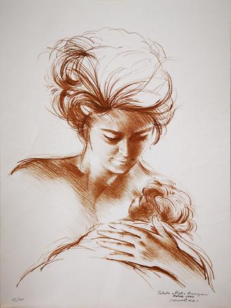 Quadro di Silvano Campeggi (Nano) La maternità  - litografia carta