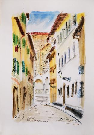 Quadro di Rodolfo Marma Via delle Pinzochere - acquerello carta
