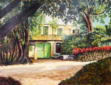 Quadro di P.P. Mazzei Villa nel parco - olio tavola