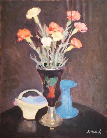 Art work by Giovanni March Vaso di fiori - oil table
