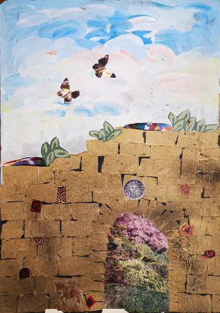 Quadro di Marta  Sarti Oltre il muro - collage faesite