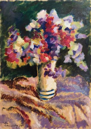 Art work by Luigi Calamandrei Vaso di fiori - oil table
