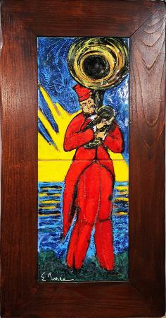 Quadro di Eugenio Taccini Il musicista - scultura terracotta
