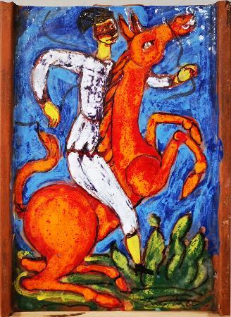 Quadro di Eugenio Taccini Uomo a cavallo - scultura terracotta