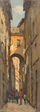 Quadro di Giovanni Lomi Roma, via dei cappellari - olio tela