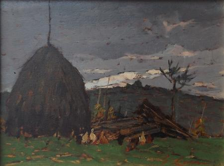Quadro di Giovanni Lomi Sull'Aia dopo la pioggia - olio tavola
