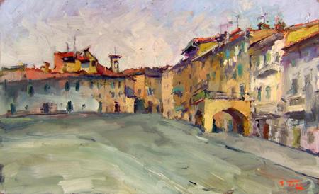 Quadro di Gino Tili Firenze alluvione 1966 - olio tavola