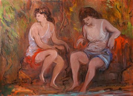 Art work by M. Bandini Due figure - oil table