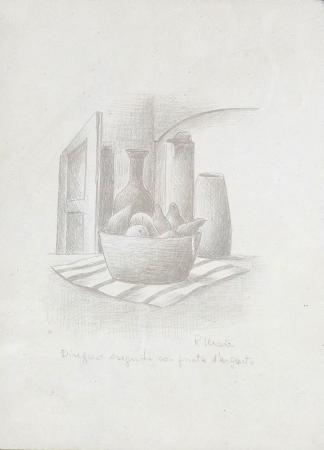 Quadro di Roberto Masi Composizione con frutta - grafite carta