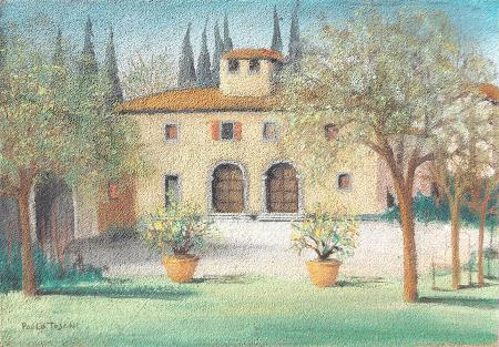 Quadro di Paolo Toschi case e alberi - olio faesite