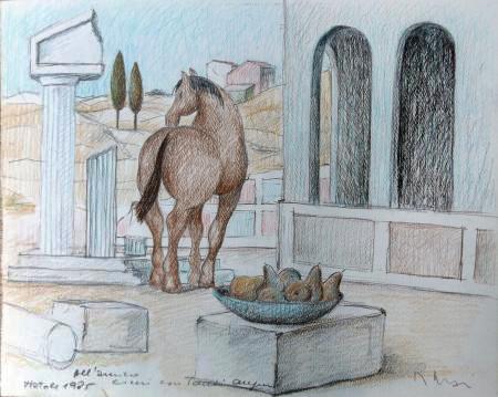 Quadro di Roberto Masi Paesaggio con cavallo e frutta - matita carta