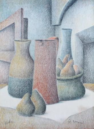 Quadro di Roberto Masi Composizione con pere - litografia carta
